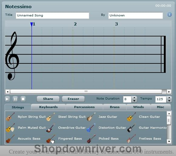 -Create your own music,  Choose from more than 150 instruments